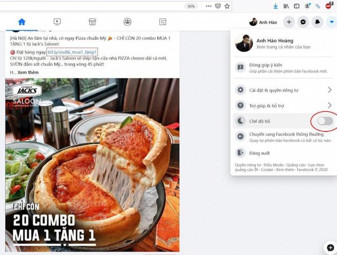Hướng dẫn cài đặt giao diện Facebook nền tối - 1