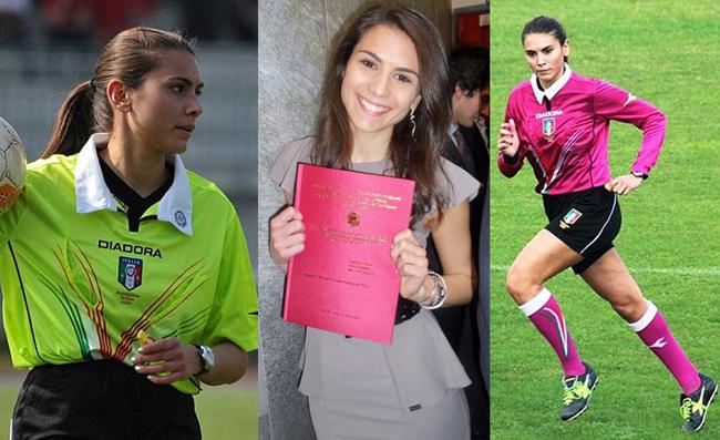"""Elena Tambani là một trọng tài bóng đá kiêm người mẫu tại Italia. """"Vị vua áo đen xinh đẹp"""" gây chú ý khi cầm còi trong một trận đấu tại giải đấu cấp thấp tại Ý. Với khuôn mặt đẹp và nụ cười duyên dáng, Tambani được coilà một trong những trọng tài xinh đẹp nhất của làng túc cầu giáo."""