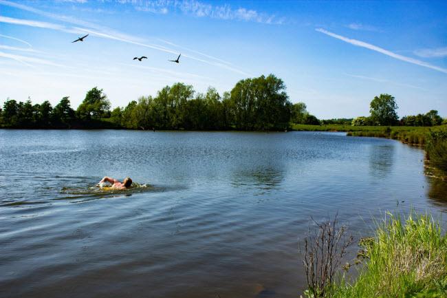 Người đàn ông bơi dưới hồ nước ở Hoveringham, Nottinghamshire.