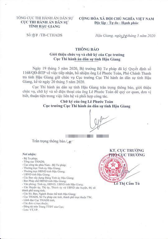 Sau vụ clip nóng, Thi hành án dân sự Hậu Giang chính thức có tân cục trưởng - 1