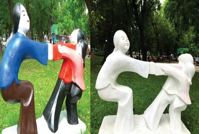 Bị phản ứng dữ dội, Công viên Thống Nhất trả lại màu sơn cho 17 bức tượng - 1
