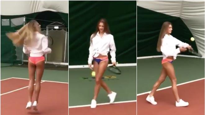 Mặc bikini chơi quần vợt, mỹ nhân thể thao gây xôn xao làng tennis - 1