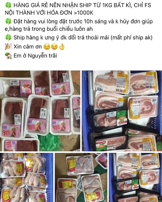 """Thịt lợn """"thải"""" của siêu thị """"cháy hàng"""" trên chợ mạng giữa bão tăng giá lợn - 1"""