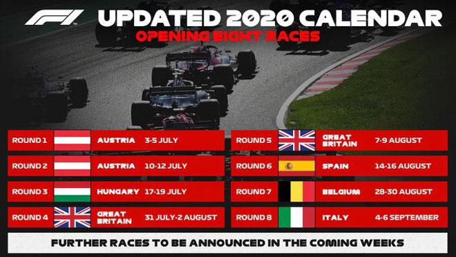 F1 công bố lịch mới mùa giải 2020: Việt Nam GP bao giờ diễn ra? - 1