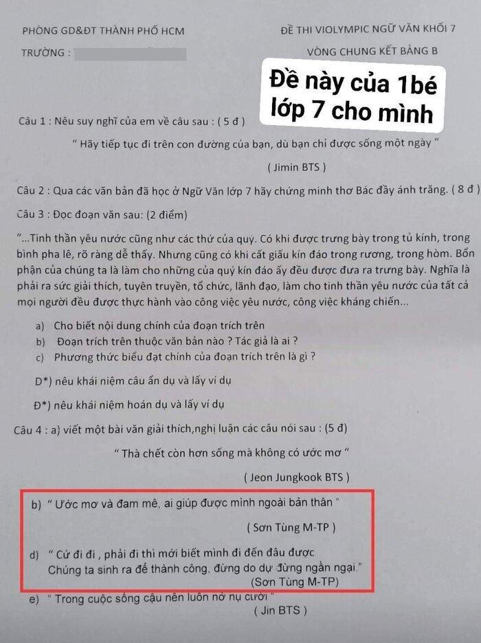 Sơn Tùng M-TP bất ngờ xuất hiện trong đề thi Ngữ văn lớp 7 - 1