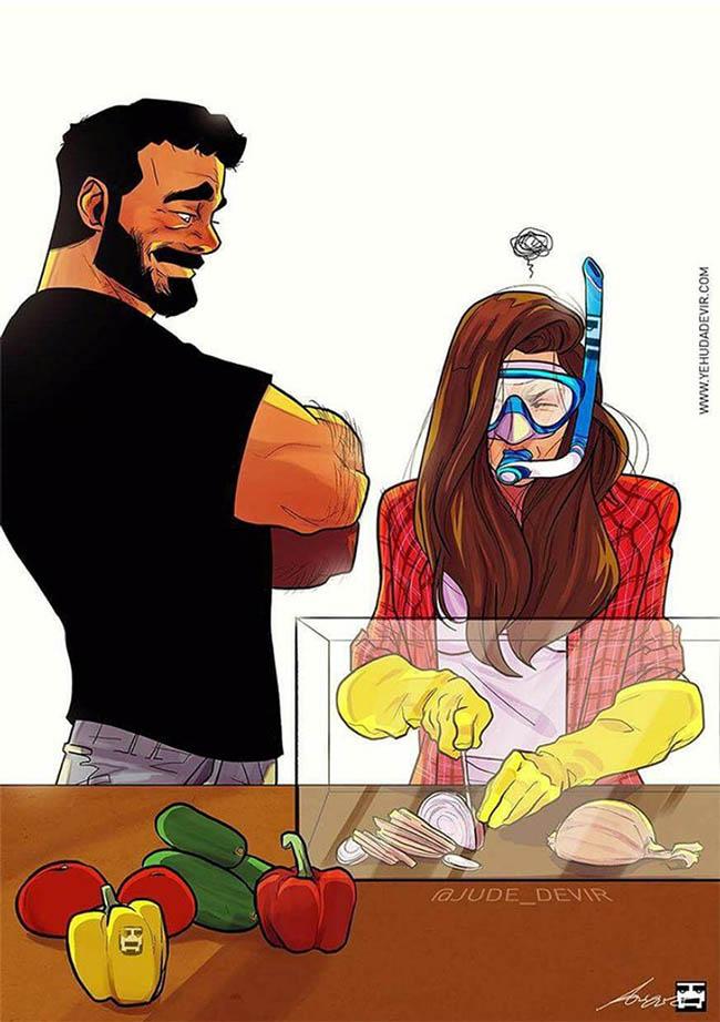 Hóa ra là vợ mình đang nấu ăn, thế mà tưởng như đang làm chuyện gì đó nghiêm trọng lắm.