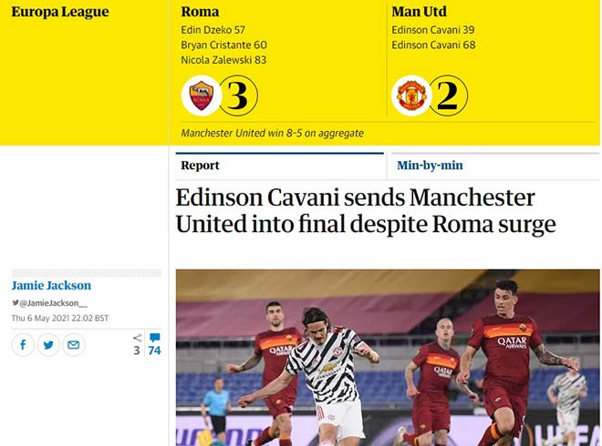 MU vào chung kết Europa League: Báo Anh tán tụng Cavani & De Gea, lo lắng 'thói quen xấu' - 1