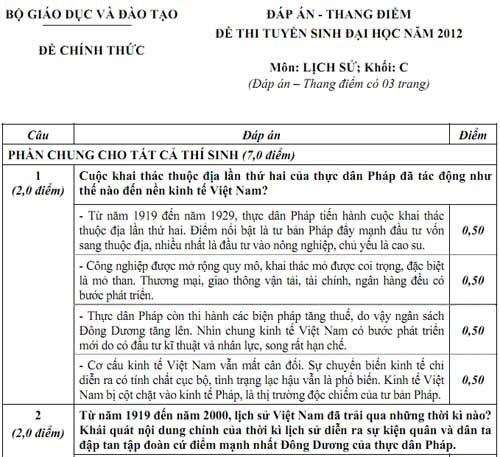 Đáp án chính thức khối C (tiếp) - 1