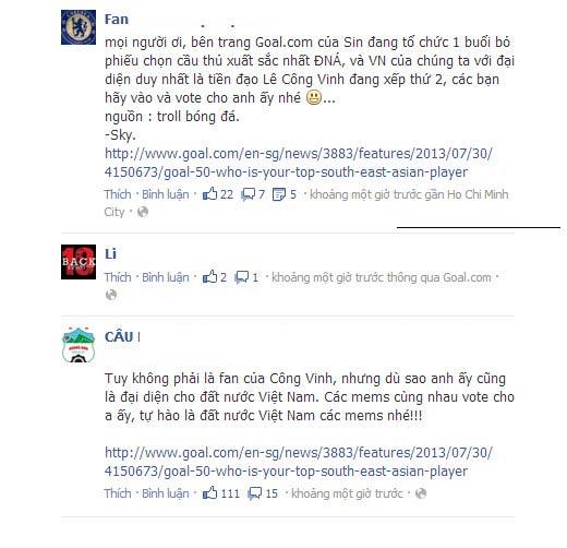 Fan Việt bình chọn Công Vinh số 1 ĐNA - 1