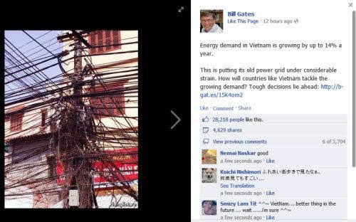"""Bill Gates đăng ảnh lưới điện Việt Nam lên Facebook gây """"sốt"""" - 1"""