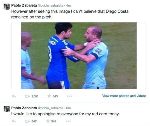 """Zabaleta """"tố"""" Diego Costa cũng xứng đáng phải bị đuổi - 1"""