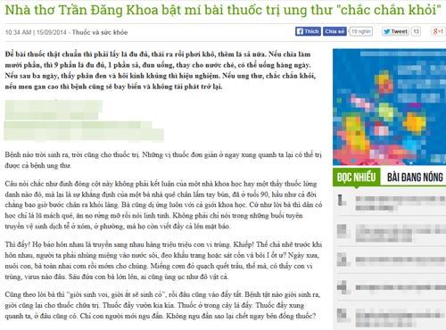 Thuốc ung thư của nhà thơ Trần Đăng Khoa: Thiếu khoa học - 1