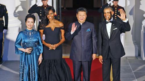 """Đệ nhất phu nhân Mỹ - Trung """"đọ sắc"""" tại quốc yến - 1"""