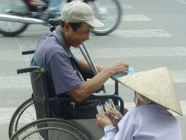 Most of lottery ticket seller are old, disable or both.