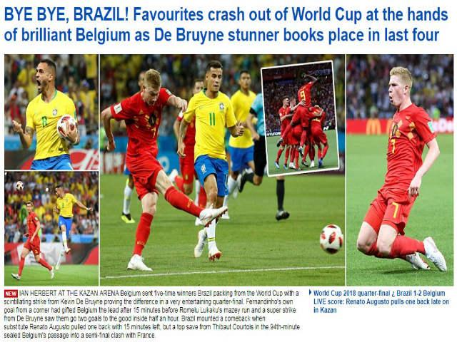 """Bỉ hạ Brazil vào bán kết World Cup: Báo chí """"xỉ vả"""" Neymar, Pháp e ngại Lukaku"""