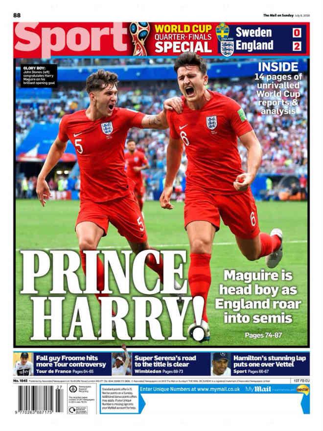 """ĐT Anh vào bán kết World Cup: Báo chí gọi người hùng là """"Hoàng tử"""" Harry - 1"""