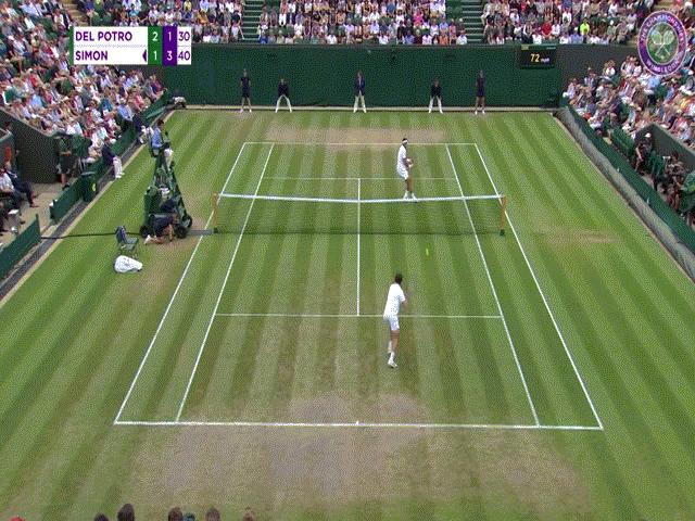 """Clip hot Wimbledon: Del Potro tung liên hoàn quyền, """"Nadal nữ"""" chạy như gió"""