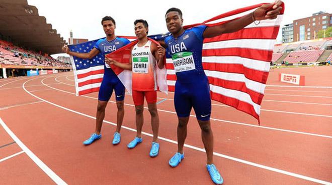 Sững sờ cả châu Á: VĐV Indonesia giật tấm HCV thế giới chạy 100m - 1