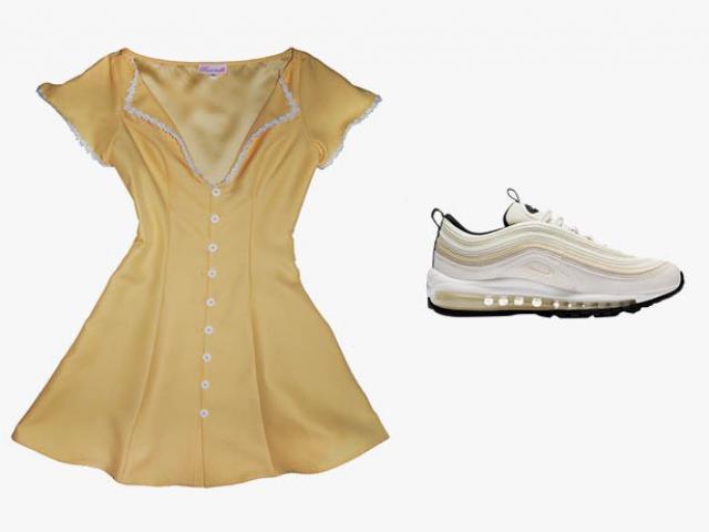 Váy nữ tính + sneaker: Sự kết hợp chất và xinh không tưởng