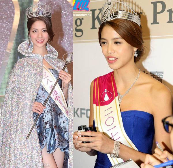 Hoa hậu Hồng Kông 2018 mất điểm vì váy ngắn khi đăng quang - 1