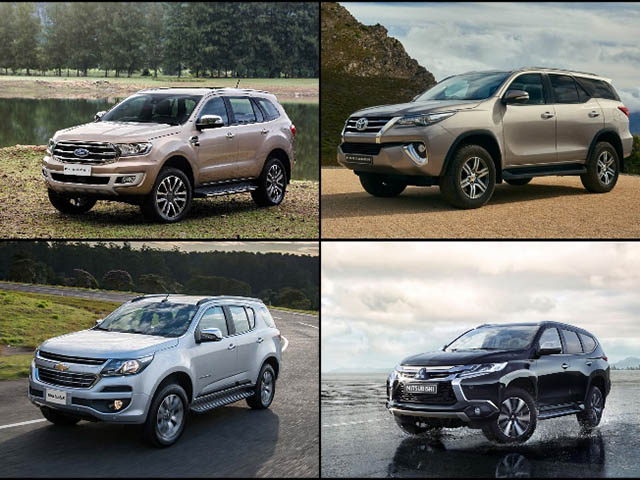"""So sánh 4 SUV cỡ trung """"nổi tiếng"""": Fortuner, Ford Everest, Trailblazer, Pajero Sport"""