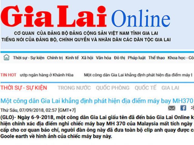 """Vì sao Báo Gia Lai gỡ tin """"Một công dân khẳng định phát hiện địa điểm máy bay MH370""""?"""