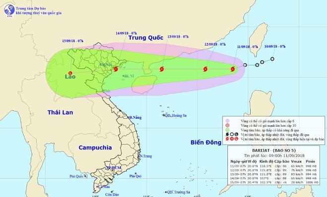 Bão số 5 - BARIJAT giật cấp 10 chính thức hoành hành trên Biển Đông - 1