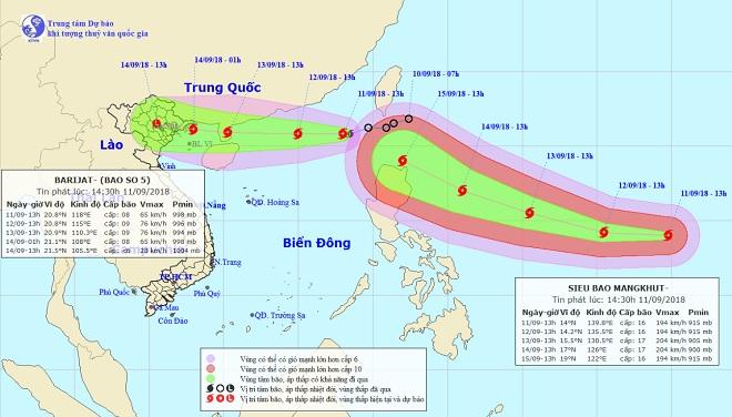 Siêu bão MANGKHUT giật cấp 16 nối đuôi bão số 5 vào Biển Đông - 1