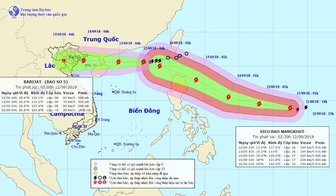 Dự báo mới nhất về siêu bão MANGKHUT và bão số 5 - 1