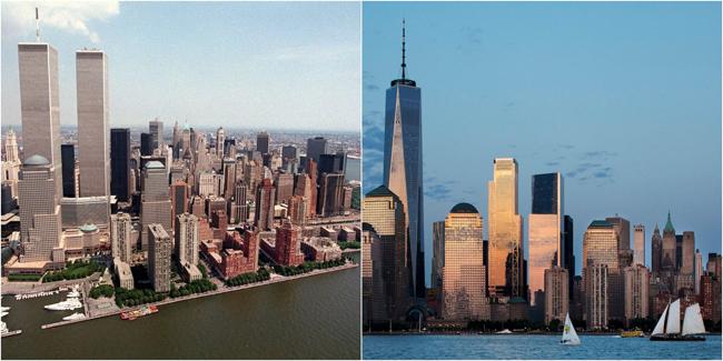 Tòa tháp đôi năm 1999 và Trung tâm thương mại thế giới năm 2018. Các cuộc tấn công khủng bố ngày 11/9/2001 đã lấy mạng sống của hơn 3.000 người Mỹ và thay đổi nước Mỹ theo vô số cách khác nhau. Nó châm ngòi cho cuộc chiến toàn cầu về khủng bố (mà Mỹ hiện đang thực hiện ở 76 quốc gia), nó dẫn đếnsự ra đời của Bộ An ninh Nội địa, Cơ quan Nhập cư và Hải quan Hoa Kỳ, và Đạo luật Patriot.