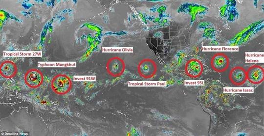"""9 cơn bão xuất hiện cùng lúc, chuyên gia cảnh báo điểm """"bất thường"""" - 1"""