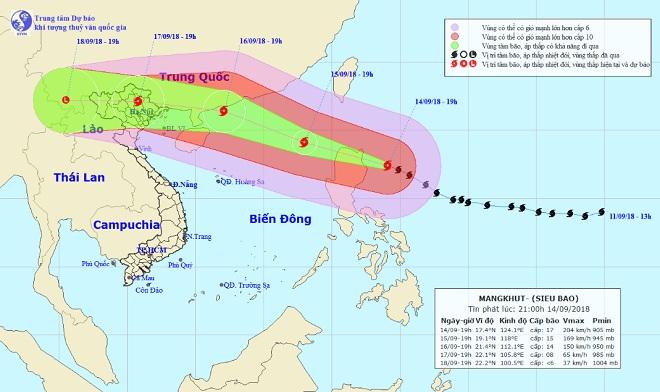 Trưa 15/9, siêu bão MANGKHUT giật trên cấp 17 sẽ vào Biển Đông - 1