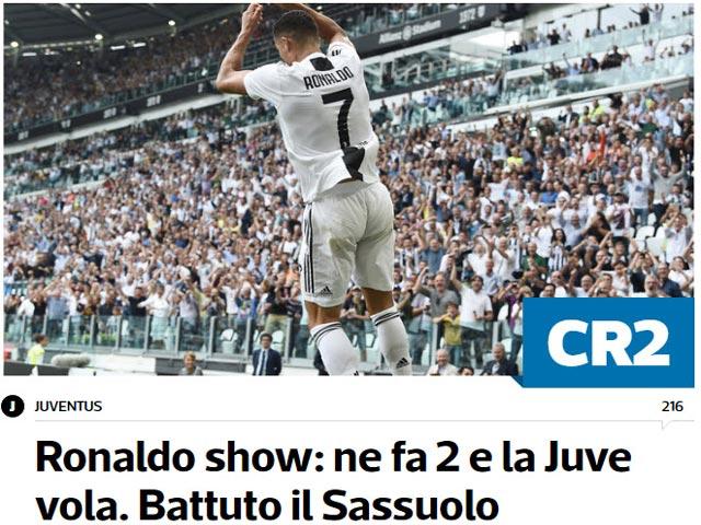 """Ronaldo lập cú đúp """"giải khát"""": Báo Ý đặt biệt danh mới, báo TBN nể phục"""