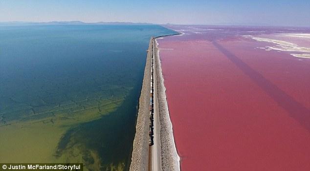 Toàn cảnh hồ nước chuyển sang màu hồng rực rỡ ở Mỹ - 1