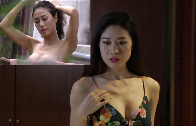 Sở hữu chiều cao 1,8m, người mẫu Cẩm Nhung từng gây sốt với cảnh tắm nóng bỏng trong phim hài Tết.