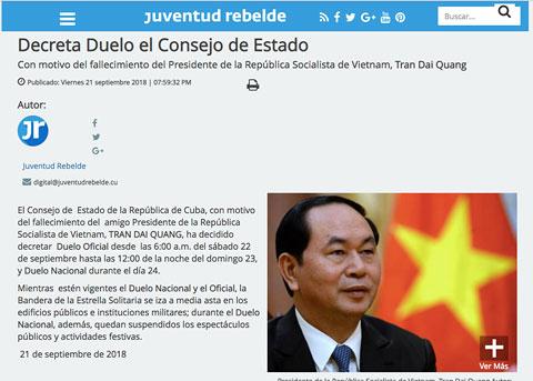 Cuba tuyên bố quốc tang tưởng niệm Chủ tịch nước Trần Đại Quang - 1