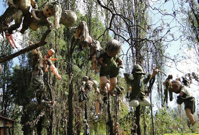Đảo búp bê, Mexico: Theo lời đồn đại, những con búp bê này không chỉ là búp bê bình thường. Chúng có thể di chuyển bàn tay, thậm chí còn thì thầm với nhau và cũng thu hút người đi thuyền lạc vào hòn đảo.