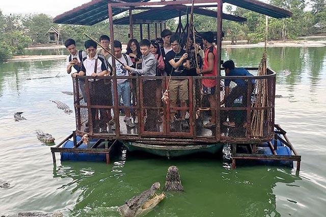 Ghé trang trại ở Thái Lan, thử tài câu cá sấu vừa dữ vừa đói giữa hồ - 1