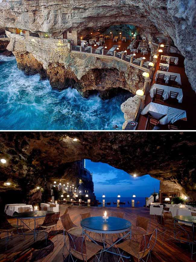 Ăn tối trong hang động Ristorante Grotta Palazzese, Puglia, Ý, bên cạnh là biển xanh thơ mộng, rất thích hợp cho một buổi cầu hôn lãng mạn.