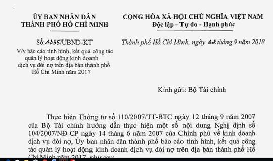 TP HCM kiến nghị Chính phủ cấm dịch vụ đòi nợ thuê - 1