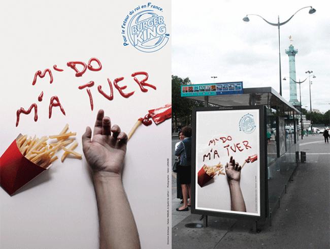 """Một bức ảnh quảng cáo gây nhiều tranh cãi của Burger King với khẩu hiệu """"McDonald's đã 'giết' chết tôi""""."""