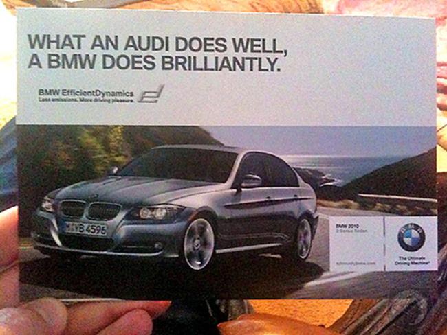 """Một tấm ảnh đầy khiêu khích của BMW: """"Cái gì Audi làm tốt thì BMW làm xuất sắc""""."""