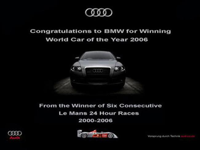 """Audi phản pháo: """"Chúc mừng BMW nhận giải xe của năm 2006 toàn cầu. Lời chúc từ người 6 lần liên tiếp chiến thắng tại Le Mans""""."""