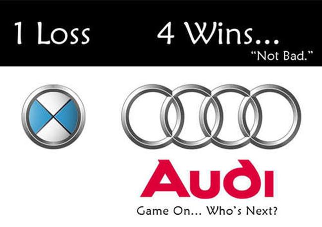 """Audi thách thức cả BMW và các hãng xe khác với mẩu quảng cáo: """"1 thua – 4 thắng, ai sẽ là người tiếp theo?"""""""