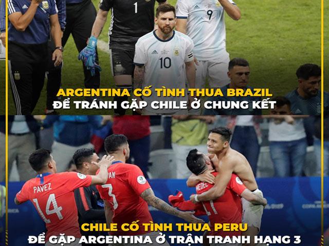 Dân mạng chế ảnh Chile cố tình thua Peru để đối đầu với Messi