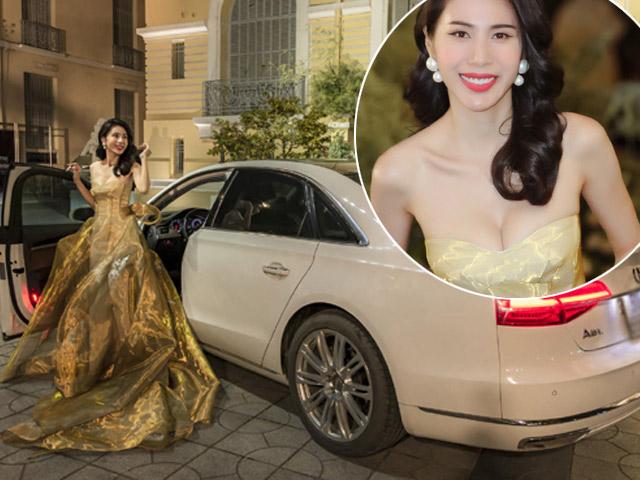 Bà xã Công Vinh mặc đầm dài 2m khoe vòng 1 gợi cảm, tự lái xế sang đi diễn