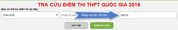 Hướng dẫn tra cứu điểm thi THPT 2019 theo tên thí sinh - 1