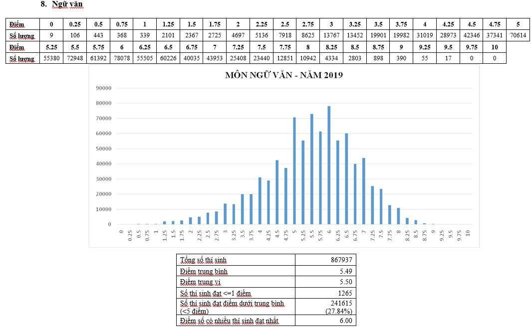 Sốc với số thí sinh bị điểm liệt môn Ngữ văn kỳ thi THPT Quốc gia 2019 - 1