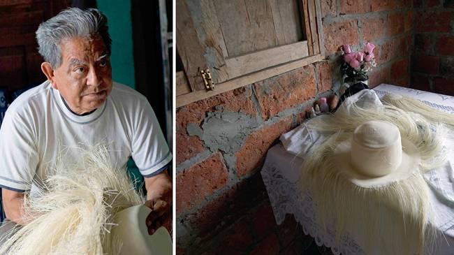 """""""Mũ Panama"""" có người gọi là mũ rơm toquilla truyền thốngEcuador. Đây là một trong những loại mũ đắt nhất thế giới do làm thủ công phức tạp."""