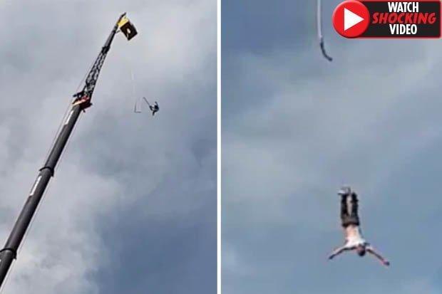 Video: Nhảy từ độ cao 100m xuống đất thì bị tuột dây và kết cục đau đớn - 1